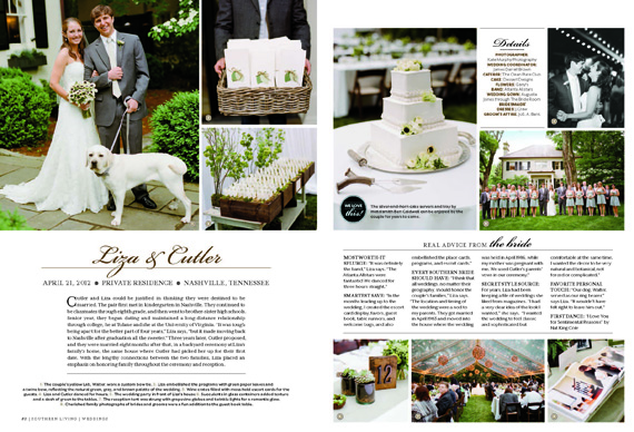 wedding is featured in the latest issue of southern living weddings